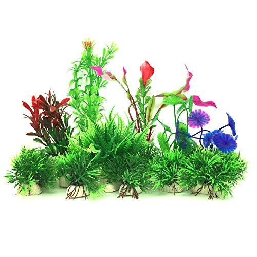 PietyPet Plantas acuáticas Artificiales, 16 Piezas Plantas Pequeño de Acuario Decoraciones plásticas del Tanque de Peces, Planta de simulación Viva Criatura Acuario Paisaje