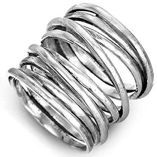 Boho-Magic 925 Sterling Silver Band Rings for Women Wide Wrap Statement Ring (7)