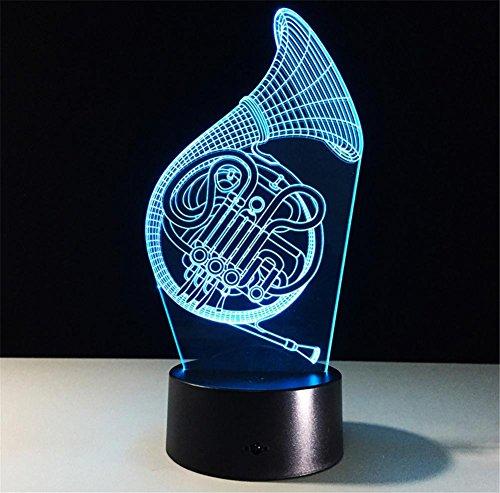 Veilleuses Illusions Optiques Saxophone lampe de bureau 3d 7 couleurs Changement tactile interrupteur à distance Tableau de commande LED Night Light Lighting Décoration Accessoires pour la maison