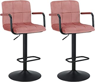 Duhome Bar Stools Modern Velvet Swivel Adjustable Hydraulic Bar Chairs Stool Square Counter Height Stool Set of 2(Pink)