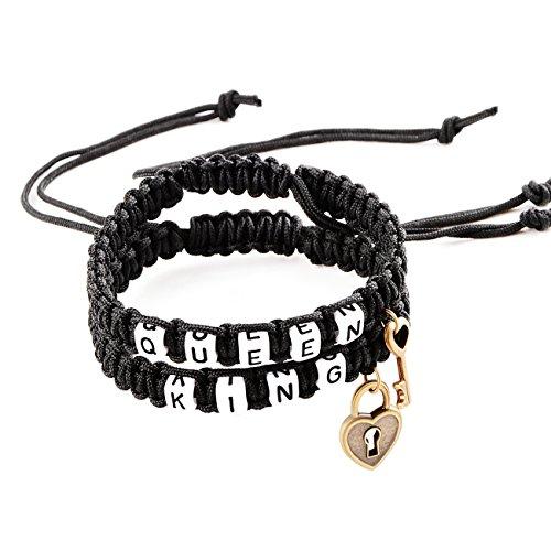 Tonver Fashion Handmade Braid Key und Lock Paar Armbänder King und Queen Resizable (Black & Black)
