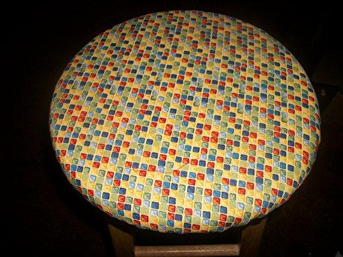"13"" Reversible Kitchen Bar Stool Slip Cover Blue Squares Blocks to Red Polka Dot"
