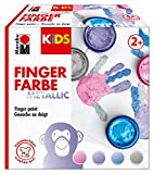 Marabu 0303000000084 - Kids Fingerfarbe Set mit 4 Metallic Farben á 100 ml, vegan, parabenfrei, laktosefrei, glutenfrei, zum Malen in Kindergarten, Schule, Therapie und zu Hause - Metalliceffekt