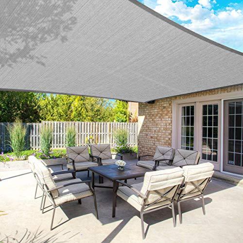 FLY HAWK SunShadeSailRectangle,10' x 12' Patio Sunshade Cover Canopy - Durable FabricCloth for Outdoor Garden Yard Pond Pergola Sandbox Deck Courtyard - Sand Color (10' x 12' Gray)