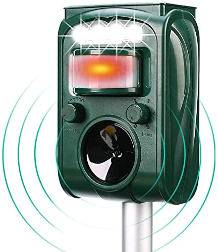 Repeler de animales solares, equipos al aire libre impermeables, activados por movimiento. PIR El sensor puede desencadenar alarmas y destellos, adecuado para gatos, perros, ardillas, mapaches, ratone