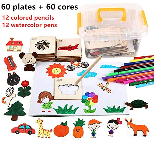Juego de plantillas de dibujo de 60 piezas para niños Kit de juguetes de dibujo de madera con 60 formas de plantilla y 24 bolígrafos de colores Graffiti DIY Set