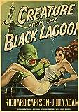 Kemeinuo Abstracto Lienzo de Criatura de la película de Terror Estadounidense de la Laguna Negra Póster Vintage Decoración para Sala de Estar 60x90cm