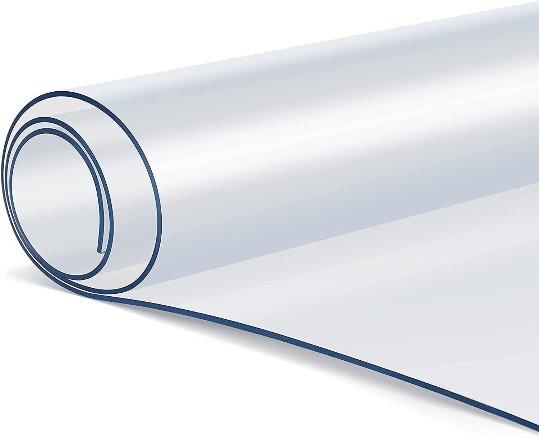 Mantel transparente de PVC, 180 x 90 cm (largo x ancho), 2 mm, protector de mesa transparente, fácil de limpiar, mantel transparente, lavable, resistente al aceite