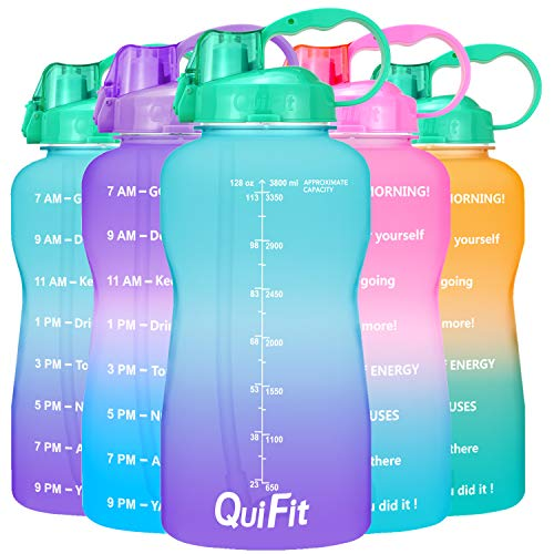 QuiFit Half Gallon Water Bottle  with Straw amp Time MarkerBPA Free Reusable Large Leakproof Portable Water Jugfor Fitness Camping Outdoor Sports GreenPurple 64oz