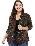 uxcell Women's Plus Size Bomber Jackets Paint Splatter Printed Blazers 1X Black