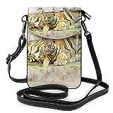 Lsjuee Croquis tigre chat mammifère bandoulière téléphone sac à main petit Mini sac à bandoulière pochette de téléphone portable en cuir portefeuille pour femmes filles