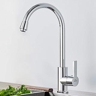 Auralum Klassische Küchenarmatur aus Edelstahl, Wasserhahn Küche 360 Grad schwenkbarer Chrom Einhebelmischer Mischbatterie für Spüle