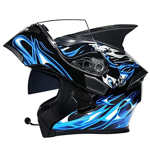 Bluetooth Casco Moto Hombre Mujer, Modular Casco de Motocicleta Integrado con Doble Visera para Motocicleta Scooter, ECE Homologado Casco de Moto para Adultos (Color : C, Size : (M/57-58CM))