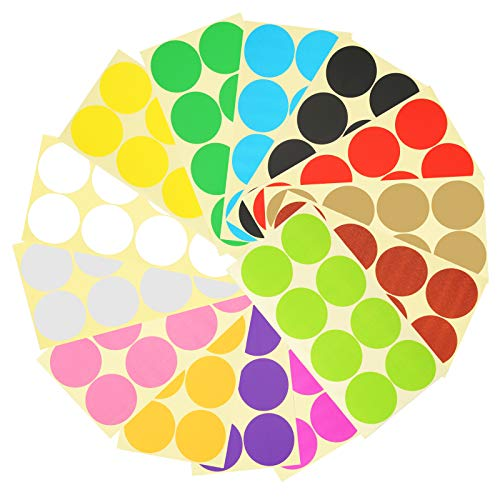 HAKOTOM 336pcs 50mm Pegatinas Circulares Redonda Etiquetas Puntos Colores Etiqueta Adhesiva Redonda Colorida para Clasificar Marcar y Cerrar Archivo Botella Bolsa Superficie de Pepel Vidrio Pl