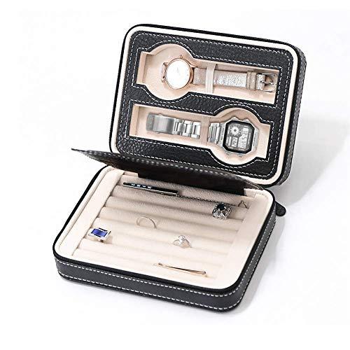 Organizador de joyería de Viaje pequeño portátil, Estuche de Viaje para Reloj de 2 Ranuras, Caja de Almacenamiento de Reloj de Cuero con Cremallera, Hombres, Mujeres, ne