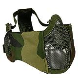 OAREA máscara táctica para Airsoft, Media Cara Inferior, Malla de Acero de Metal, protección para los oídos para Paintball al Aire Libre, WL