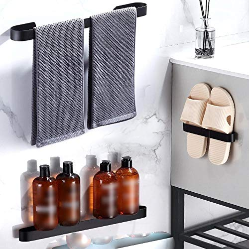 Nuevo soporte para toallas, colgador para toallas de baño, perchero negro plateado, espacio para colgar en la pared de aluminio, organizador de barra de toallas, estante de almacenamiento de cocina