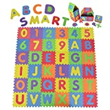 Suwimut Kids Foam Puzzle Floor Play Mat, Alphabet and Numbers Soft EVA Foam Playmat for Children, 36 Tiles, 12 x 12 Inches for a Total Coverage of 36 Square Feet