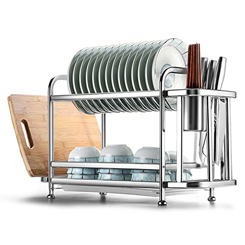 KUYUC Escurridor Platos 2 Niveles, Escurreplatos Acero Inoxidable con Porta Cubiertos y Cutting Board Holder para la Encimera o el Fregadero de la Cocina (Color : Silver, Size : 58cm(23inch))