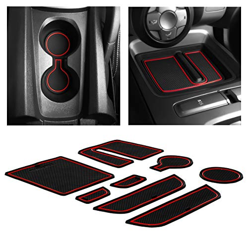 CupHolderHero for Chevy Camaro Accessories 2010-2015 Premium Custom Interior Non-Slip Anti Dust Cup Holder Inserts, Center Console Liner Mats, Door Pocket Liners 8-pc Set (Red Trim)