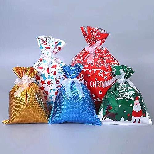 Lapeno Geschenkverpackung Taschen Geschenktaschen für Weihnachten Kordelzug 30pcs Geschenkbeutel mit Band Krawatten für Xmas Party Süßigkeiten Spielzeug Packung Verpackungsbeutel