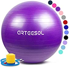 arteesol Exercise Yoga Ball, Gym Ball with Quick Pump 75cm/65cm/55cm/45cm Anti-Slip Exercise Ball Heavy Duty Gym Ball for Physical Therapy, Gym and Home Exercise (Purple, 55cm)