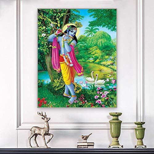 Puzzle 1000 teile Buddha Statue Buddhismus Indien Ganesha Leinwand Malerei Kunst Krishna Bild puzzle 1000 teile Pädagogisches intellektuelles Dekomprimieren von Spielzeugrätse50x75cm(20x30inch)