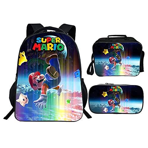Mochila escolar Mario Anime Nuevo producto que imprime el bolso de escuela del estudiante de tres piezas del bolso del almuerzo del bolso del almuerzo del juego de la mochila de Super Mario