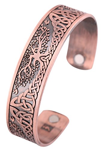 YGGDRASIL World Tree of Life Bracelet Health Care Stainless Steel Cuff Bangle Bracelet for Men (Antique Copper)