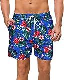 COOFANDY Herren Badehose Quick Dry Beach Floral Shorts mit Netzfutter - - X-Large