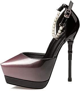 WHPSTZ Stiletto High Heels Elegant Sexy Beaded Work Shoes Shallow Mouth Sandals Stiletto Heel 14.5CM 4 Colors High Heels (Color : Purple, Size : EU38/UK5.5/CN38)