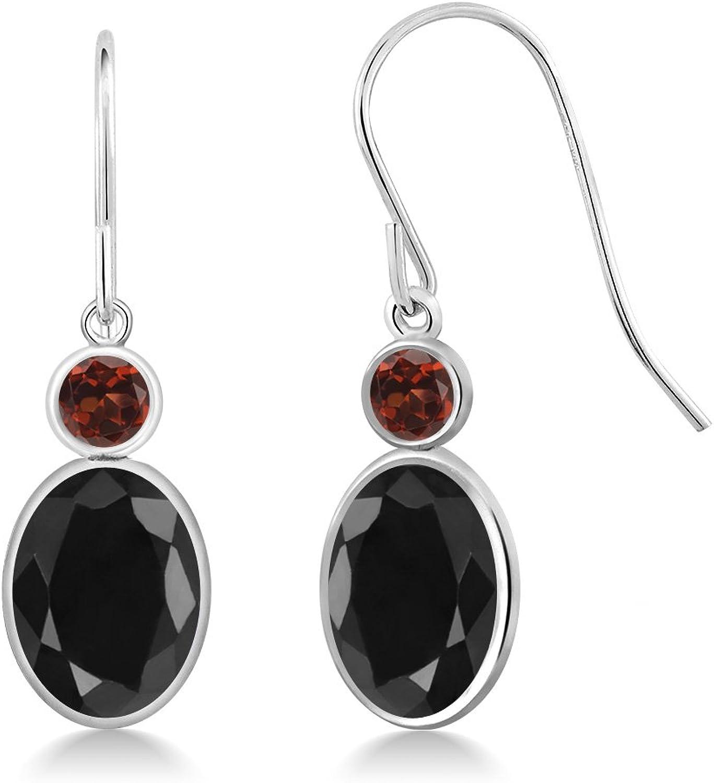 3.56 Ct Oval Black Sapphire Red Garnet 14K White gold Earrings