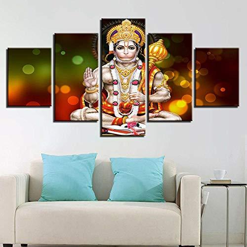 IIIUHU Immagini da Parete 5 Pezzi Quadro su Tela Lord Hanuman Jayanti Hindu Fest Quadri Moderni...