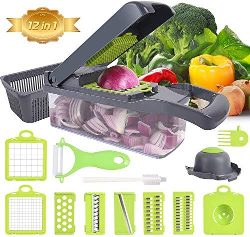 Ram® Mandoline 13 en 1 Coupe-légumes et déchiqueteuse Alimentaire Dés Râpe Interchangeable Lames Râpe Hachoir Récipient Alimentaire Tout en Un