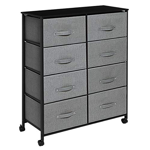 KINGSO 8 Drawer Dresser Storage Tower Organizer Unit with Rolling Wheels,Easy Pull Fabric Drawer, Sturdy Steel Frame, Wood Top, Dressers for Bedroom Living Room Entryway Hallway Closet - Dark Gray