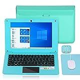Ordinateur Portable 10.1 Pouces Windows 10 Netbook Quad Core Laptop avec WiFi, HDMI, Netflix,Youtube et Clavier Français AZERTY (Bleu)