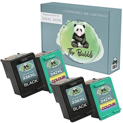 The Bubbli Original | 336 342 Remanufacturado Cartucho de Tinta Compatible para HP Photosmart 2570 2575 2710 8150 C3100 C3180 C4180 DeskJet 5440 5442 6310 Officejet 6315 PSC 1510 (NEGRO/COLOR, 4-PACK)