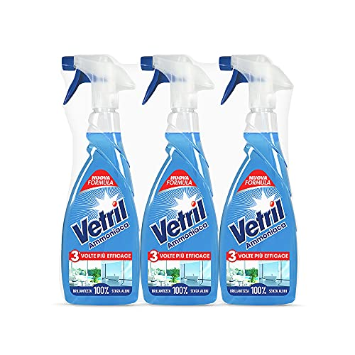 Vetril - Sgrassatore Detergente Spray Multisuperficie con Ammoniaca, Azione Sgrassante e Brillantezza Senza Aloni, 650 ml x 3 pezzi