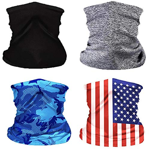 4Pcs Kids Neck Gaiter with Filters,Face Bandana Mask Balaclava,Face Cover Scarf Cycling Sport Outdoor (Black/Grey/Blue/Flag, One size)