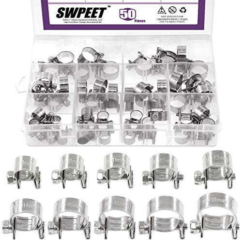 Swpeet 50Pcs 10 Sizes 304 Stainless Steel Mini Fuel Injection Line Style Hose Clamp Assortment Kit Perfect for Automotive, Agriculture, Plant & Construction
