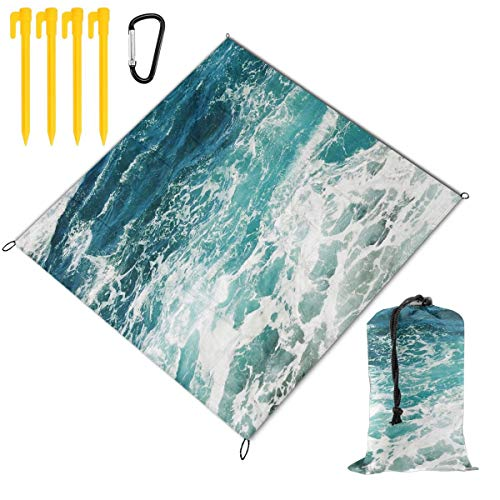 Buy Bargain Hucuery Picnic Blanket 59 X 57 in Blue Ocean Waves Foldable Waterproof Extra Large Picnic Mat, Can Be Used for Picnic Beach Outdoor Picnic Mat