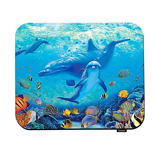 Swono Sea World Mouse Pads Abstract Undersea Dolphins and Plants Mouse Pad for Laptop Funny Non-Slip Gaming Mouse Pad for Office Home Travel Mouse Mat 7.9'X9.5'