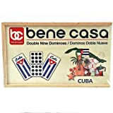 Bene Casa - Cuban Flag Design Double Nines Dominoes Set (55 Dominoes) - Ideal for 2-10 Players - Includes Wooden Storage Box