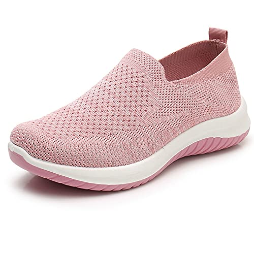 [WS-DOMUS] 【商品名】[ワールドシードゥモス]レディース スニーカー ひもなし スリッポン 通気 超軽量 高齢者 シューズ 安全靴 普段靴 (ピンク, measurement_24_point_5_centimeters)