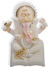 Buddha Statue Sitting on Lotus Pedestal Hindu Elephant God of Success Figurine Ganpati,Showpiece Zen Sculpture for Modern ...