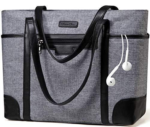 Laptop Handtasche,ChaseChic Wasserdicht Klassisch Einkaufstasche des Lehrers 15.6in Computer Arbeitstaschen für Damen mit Gepäckband,Anthrazit