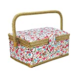 Zaks Designs MDF with soft Polyester Internal Plastic Removable Tray with Compartments Sewing Basket with Tray