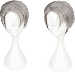 NiceLisa Halloween Party Cosplay Wig Short Grey Side Part Boy Anime Comic Costume Wig