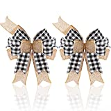 2 Pieces Black White Plaid Burlap Bows Large Buffalo Plaid Wreath Bows Buffalo Check Tree Decorative Bows Rustic Burlap Holiday Craft Bows for Tree Topper Wedding Birthday Party Decor, 9.5 x 13 Inches