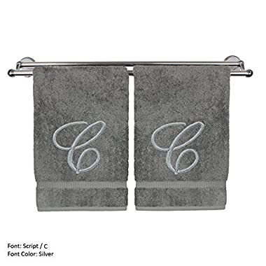 Monogrammed Hand Towel, Personalized Gift, 16 x 30 Inches - Set of 2 - Silver Embroidered Towel - Extra Absorbent 100% Turkish Cotton- Soft Terry Finish - For Bathroom, Kitchen and Spa- Script C Gray